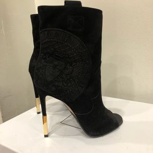 Balmain Medallion Embossed Suede Ankle Boots